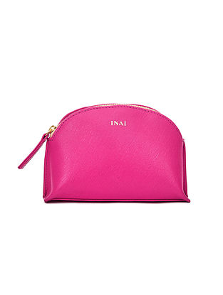 Hot Pink Handcrafted Leather Pouch