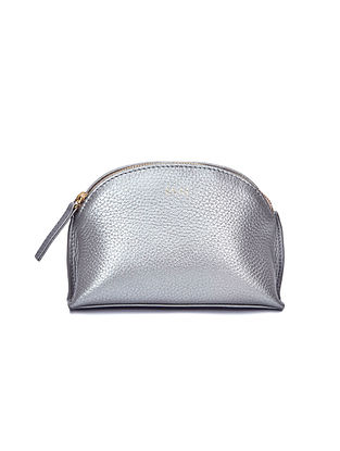 Silver Handcrafted Leather Pouch