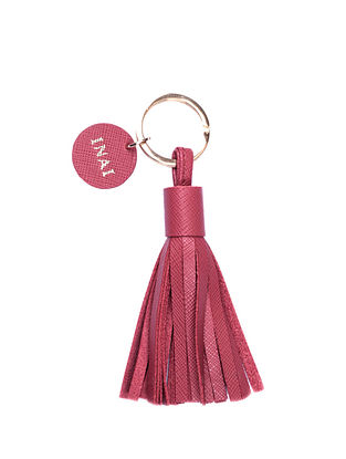 Red Handcrafted Leather Tassel Keychain