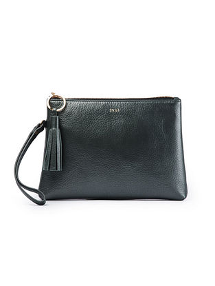 Dark Green Handcrafted Leather Wristlet