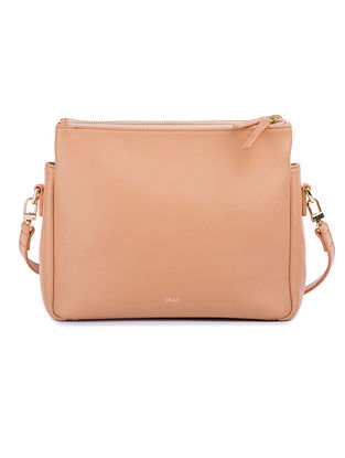 Beige Handcrafted Leather Sling Bag