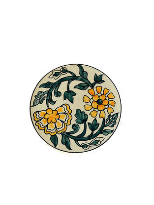 Mughal Garden Multicolored Handcrafted Ceramic Trivet - Dia:6in