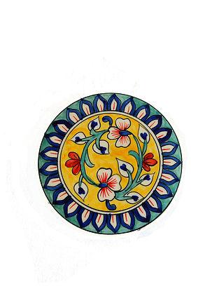 Summer Garden Multicolored Handcrafted Ceramic Trivet - Dia:6in