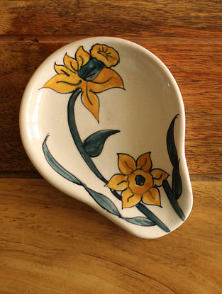 Yellow Daffodil Handcrafted Ceramic Spoon Rest - L:5in