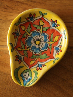 Mughal Yellow- Multicolored Handcrafted Ceramic Spoon Rest - L:5in
