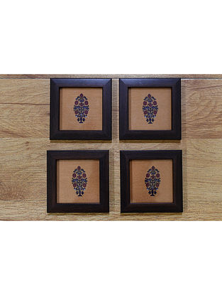Shekhawati Mustard-Multicolor Printed Wood and Fabric Coasters (Set of 4) (4in x 4in)