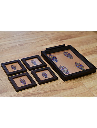 Shekhawati Mustard-Multicolor Printed Wood and Fabric Tray and Coasters (Set of 5)