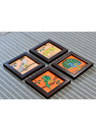 Forest Inspirations Orange-Multicolor Hand Painted Wood and Fabric Coasters (Set of 4) (4in x 4in)