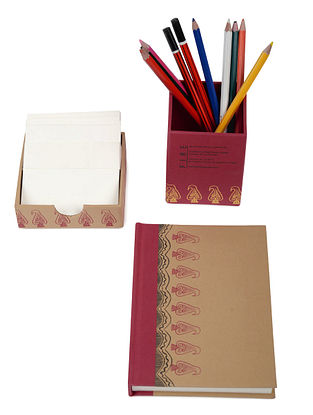 5 Elements Madhubani Desk Stationery-Set of 3