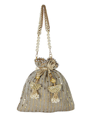 Grey Gold Handcrafted Potli with Pearls
