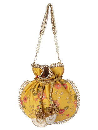 Yellow Multicolored Handcrafted Raw Silk Potli with Pearls