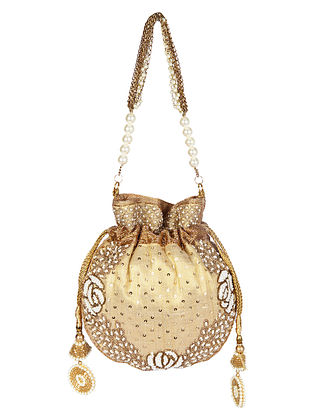 Gold Handcrafted Embroidered Raw Silk Potli with Pearls