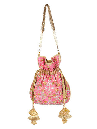 Pink Gold Handcrafted Embroidered Raw Silk Potli with Pearls