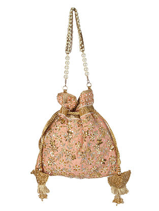 Peach Gold Handcrafted Embroidered Raw Silk Potli with Pearls