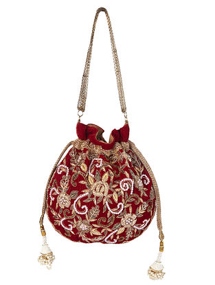 Maroon Gold Handcrafted Embroidered Velvet Potli with Pearls