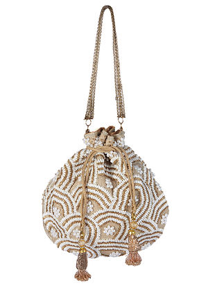 Brown White Handcrafted Embroidered Jute Potli with Pearls