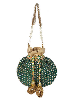 Green Handcrafted Embroidered Silk Potli with Pearls