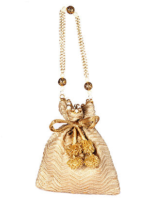 Gold Handcrafted Silk Potli with Pearls