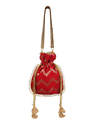 Red Gold Handcrafted Shimmer Silk Potli