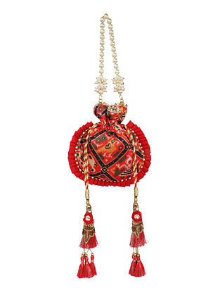 Red Handcrafted Pure Silk Potli