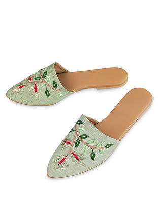 Green Handcrafted Faux Leather Mules