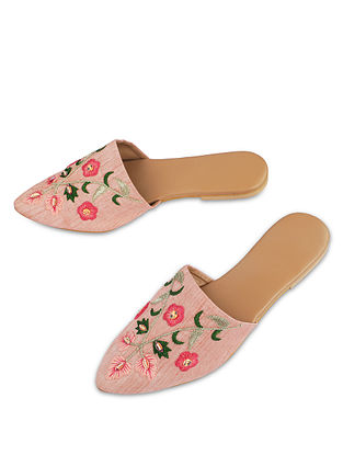 Pink Handcrafted Faux Leather Mules