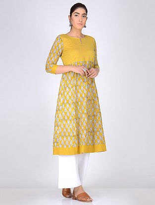 Yellow Block Printed Anarkali Cotton Kurta