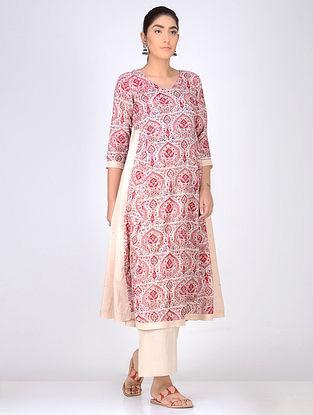 Pink Block Printed Anarkali Cotton Kurta