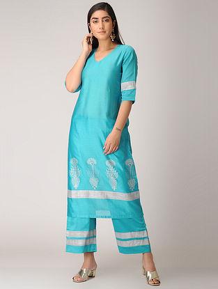 Turquoise Khari-printed Chanderi Kurta with Pants (Set of 2)
