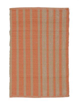 Orange-Beige Handwoven Cotton Placemats (Set of 6)