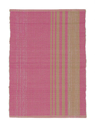 Pink-Beige Handwoven Cotton Placemats (Set of 6)