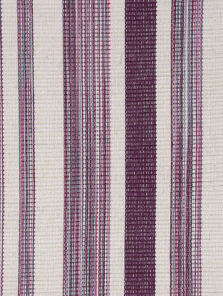 Off White-Purple Handwoven Reversible Cotton Placemats (Set of 6)