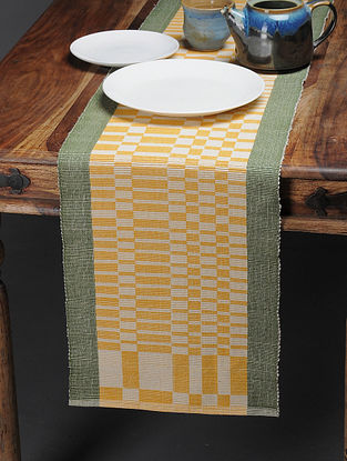 Mustard-Olive Handwoven Cotton Table Runner