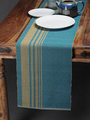 Blue-Beige Handwoven Cotton Table Runner