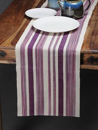 Off White-Purple Handwoven Reversible Cotton Table Runner