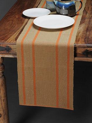Orange-Beige Handwoven Cotton Table Runner