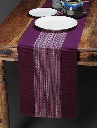 Burgundy Handwoven Cotton Table Runner