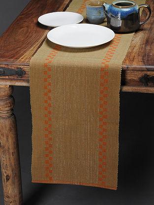 Beige-Orange Handwoven Cotton Table Runner