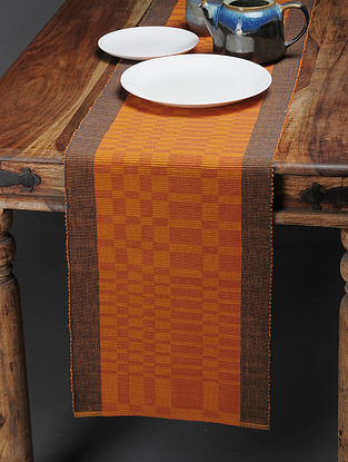 Orange Handwoven Cotton Table Runner