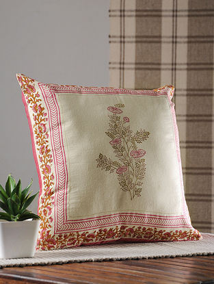 Pink Handblock Printed And Embroidered Satin Cushion Cover