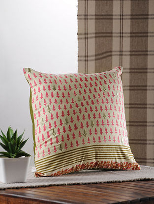 Olive And Pink Handblock Printed And Embroidered Satin Cushion Cover
