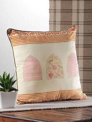 Orange Handblock Printed Satin Cushion Cover