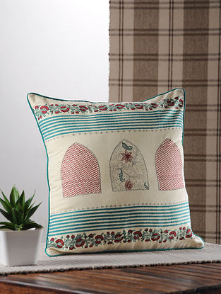 Teal Handblock Printed And Embroidered Satin Cushion Cover