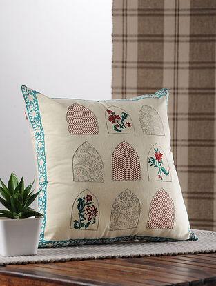 Teal Handblock Printed Satin Cushion Cover