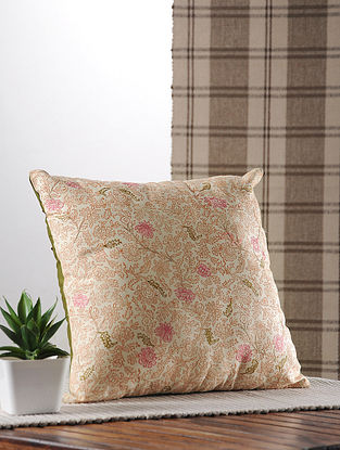 Rust Handblock Printed And Embroidered Satin Cushion Cover