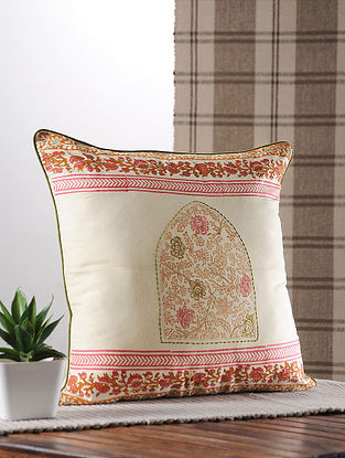 Pink And Rust Handblock Printed And Embroidered Satin Cushion Cover