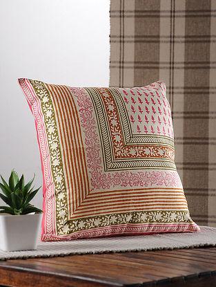 Pink Handblock Printed Satin Cushion Cover
