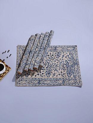 Blue Cotton Kalamkari Printed Table Mat (Set of 6) (18.5in x 13in)