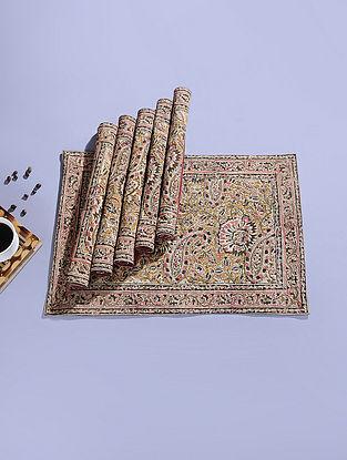 Mustard Cotton Kalamkari Printed Table Mat (Set of 6) (18.5in x 12.5in)