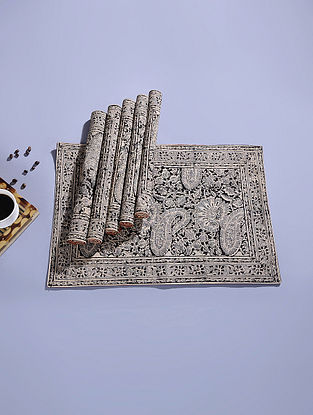 Black Cotton Kalamkari Printed Table Mat (Set of 6) (18.5in x 12.5in)
